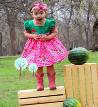 Watermelon Dress, Watermelon Birthday, Girls Summer Dress, Girls Retro Dress, Pageant Wear OOC, Girls Spring Dress, Twirl Dress, Summer