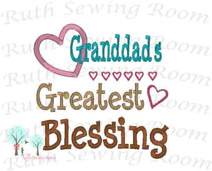 Granddad's Greatest Blessing Embroidery - Father day - Granddad Embroidery Design Instant download Machine Embroidery - This is NOT a PATCH!