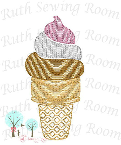 Ice Cream Vintage Stitch -- Fast Embroidery - Ice Cream Cone  Embroidery Design Instant download Machine Embroidery - This is NOT a PATCH