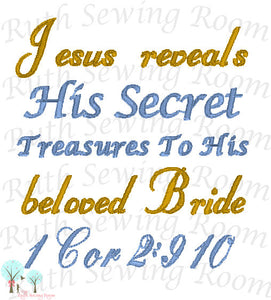Jesus Reveal His Secret, Embroidery, Christian Embroidery, 1 Cor 2:9-10  Christian Embroidery,  Digitize File ---