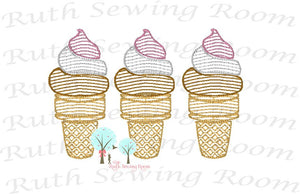 Ice Cream Cone Vintage Stitch - Fast Embroidery  Ice Cream Cone  Embroidery Design Instant download Machine Embroidery - This is NOT a PATCH