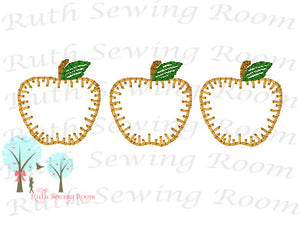 Apple Vintage Stitch - Applique 3 Apples,  Fall Harvest, Applique  Design Instant download Machine Embroidery - This is NOT a PATCH