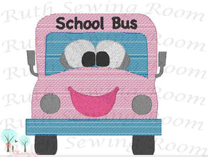 School Bus Vintage Stitch,  Per-K, Grade School Bus Stitch   Embroidery Design Instant download Machine Embroidery - This is NOT a PATCH!