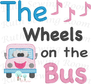 The Wheels on the Bus Vintage Stitch,  Per-K, Bus Stitch  Embroidery Design Instant download Machine Embroidery - This is NOT a PATCH!