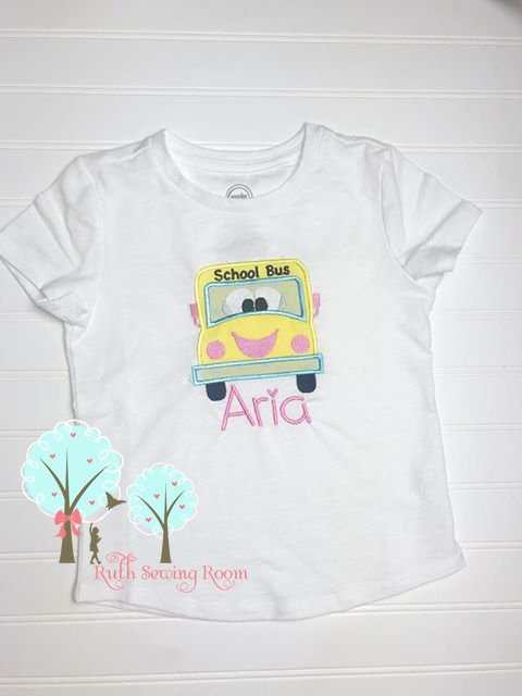 School Bus, Applique   Per-K, Grade School Bus  - Appliques Design Instant download Machine Embroidery - This is NOT a PATCH