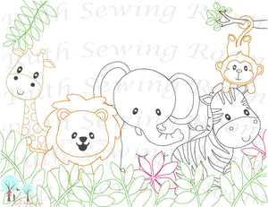 Safari Animals - Elephant, Lion, Monkey, Zebra and Giraffe Vintage Stitch Design Instant download Machine Embroidery - This is NOT a PATCH