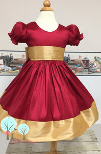 Christmas Dress , Red and Gold Faux Silk DUPIONI Dress, Christmas Party Dress, Birthday, Celebration, Recital, Girls,