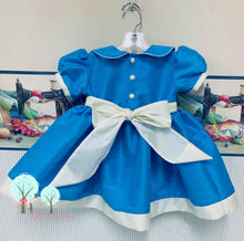 Beauty - Sunday Best - Poly Silk Dupioni Tropic Blue - Wedding Flower Girl - Easter - Tea Party Dress - Birthday Party Dress - Princess