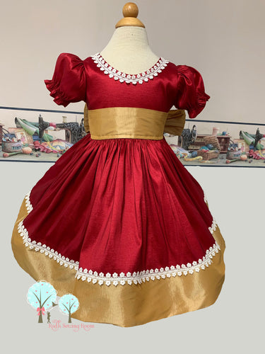 Christmas Dress , Red and Gold Faux Silk DUPIONI Dress, Christmas Party Dress, Birthday, Celebration, Recital,  Ready to Ship Size 24m/2t