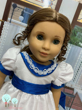 "Ballerina Clara Dress,Victorian era White and Sapphire Blue- Poly Silk DUPIONI, 18"" America Girl Dress"