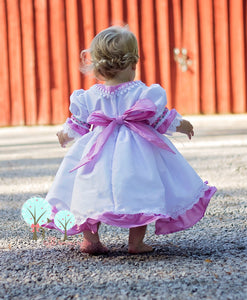 Beauty Sunday Dress, Silk DUPIONI, Paris Pink and White   Wedding Flower Girl, Christmas Party, Birthday, Recital