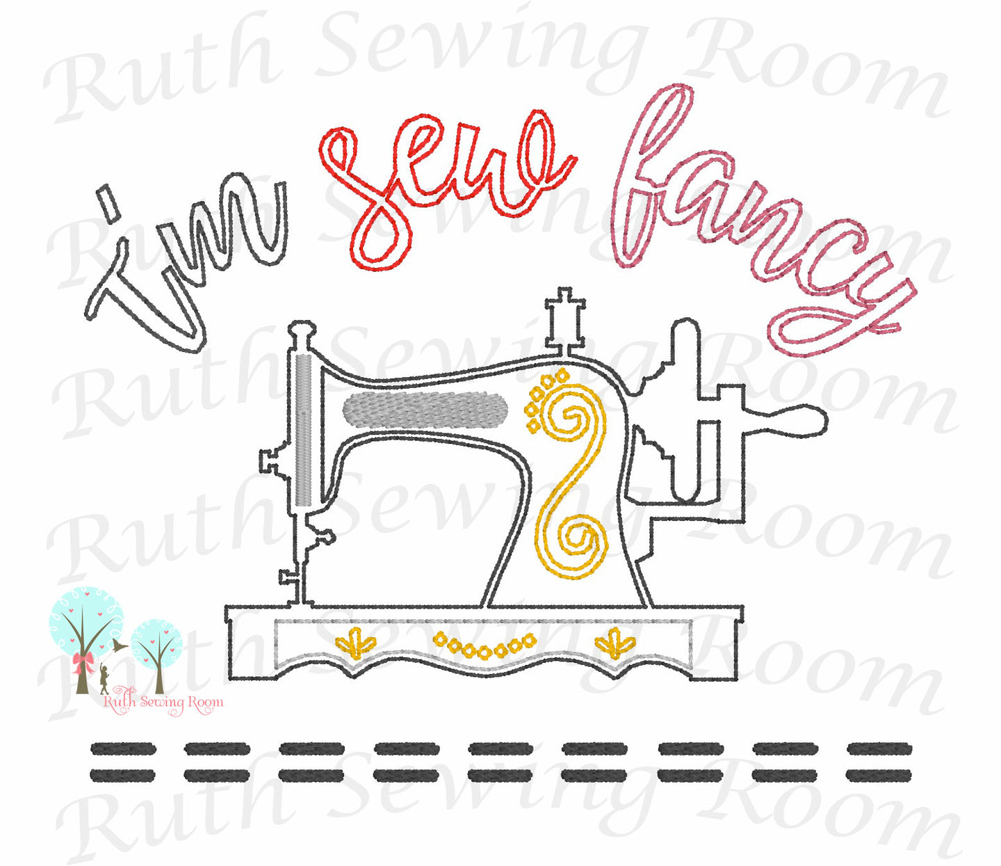 Redwork Vintage Sewing Machine - Vintage Stitch -   Embroidery Design Instant Download Machine Embroidery