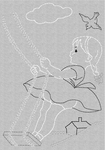 Redwork Child at Play - Vintage Stitch -   Embroidery Design Instant Download Machine Embroidery