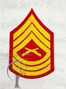 Marine Master Sergeant Rank Logo Applique Embroidery Design This is not Fill and NOT A PATCH