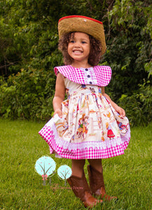 Cowgirl Dress, Retro Cowgirl Dress, Cowgirl Birthday Dress
