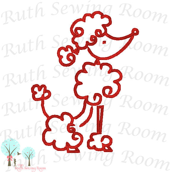 Vintage Stitch Outline Poodle Dog  -   Embroidery Design Instant Download Machine Embroidery