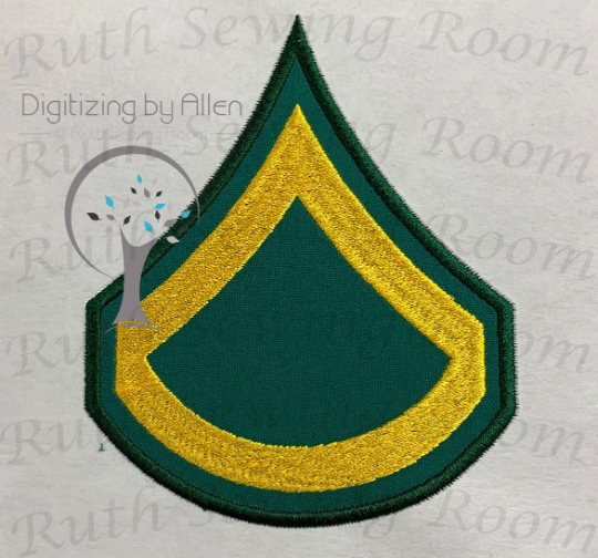 army private first class applique design