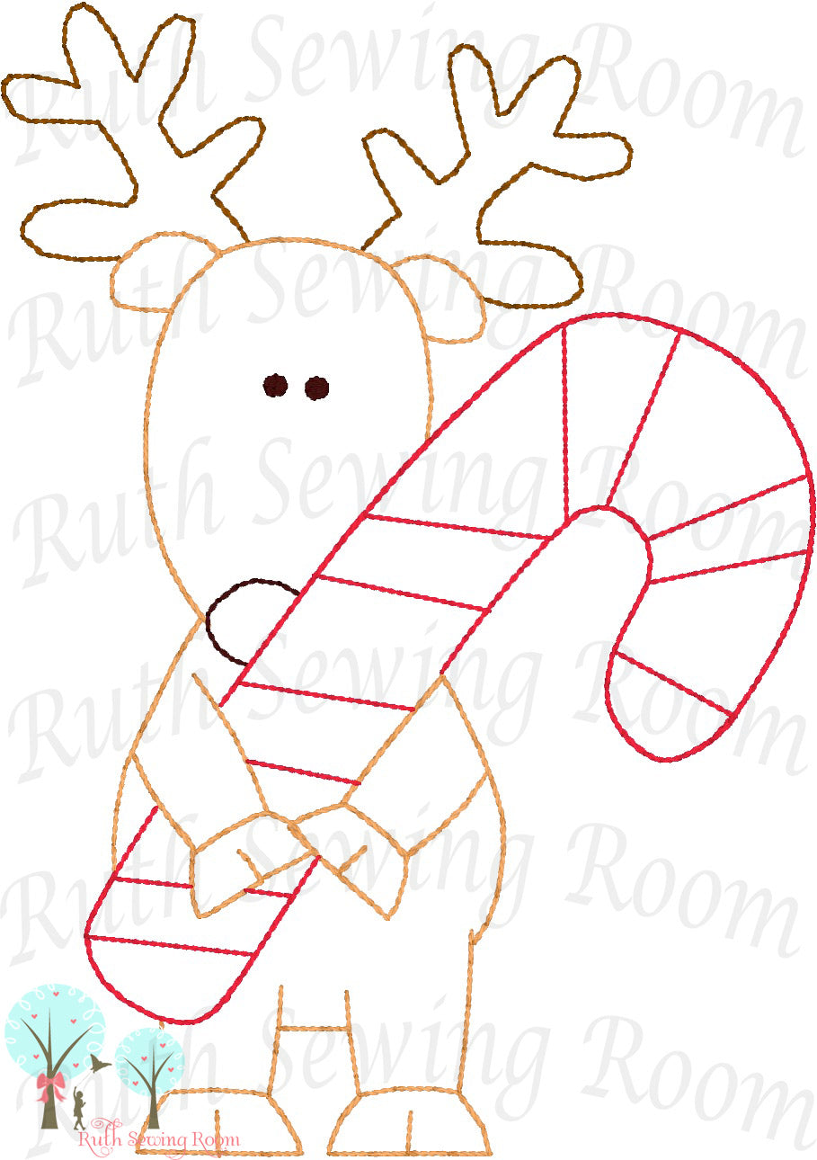 Christmas Reindeer - Candy Cane  - Christmas Vintage Stitch  -   Embroidery Design Instant Download Machine Embroidery