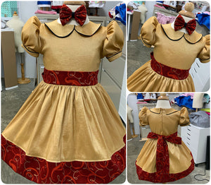 RTS Size 18m/24m/2t Christmas Dress ,  Gold Faux Silk DUPIONI Dress, Christmas Party Dress, Birthday, Celebration, Recital
