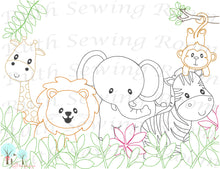 Safari Animals Vintage Stitch - Embroidery Design Instant download Machine Embroidery - This is NOT a PATCH!