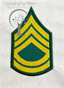 Army Sergeant First Class Rank Logo Applique Embroidery Design This is not Fill and NOT A PATCH