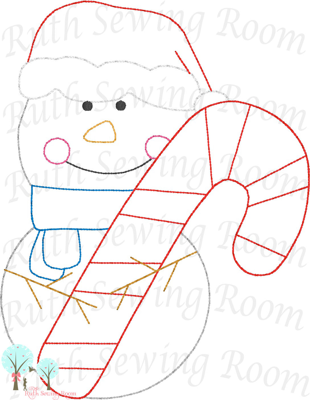 Snowman - Candy Cane  - Christmas Vintage Stitch  -   Embroidery Design Instant Download Machine Embroidery