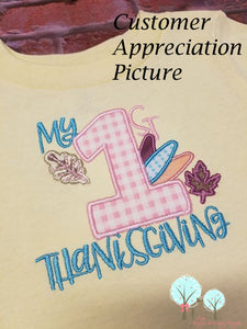 My First Thanksgiving Applique  -   Embroidery Design Instant Download Machine Embroidery