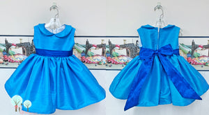 OOC Tropic Blue  Silk DUPIONI, Wedding Flower Girl Silk Christmas Party Dress, Birthday, Celebration, Recital, Girls, Other Colors Available