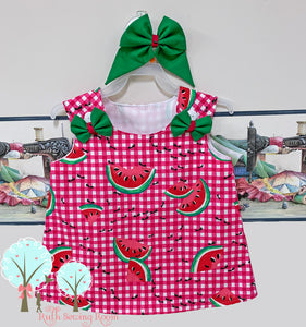 Ready to Size 18m/2t  Watermelon Jumper, Watermelon Birthday, Girls Summer Dress,