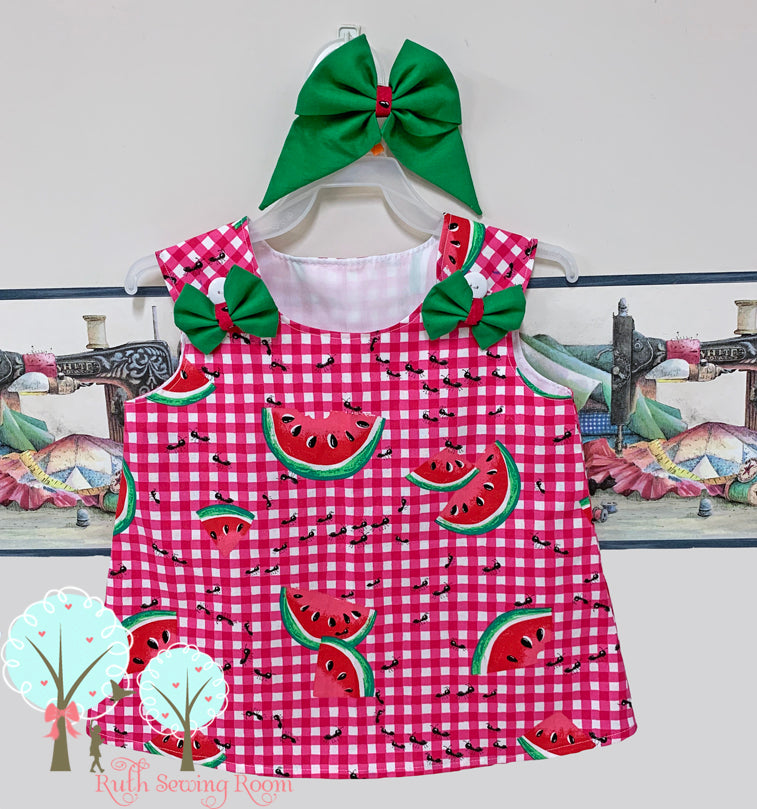 Watermelon Jumper, Watermelon Birthday, Girls Summer Dress,