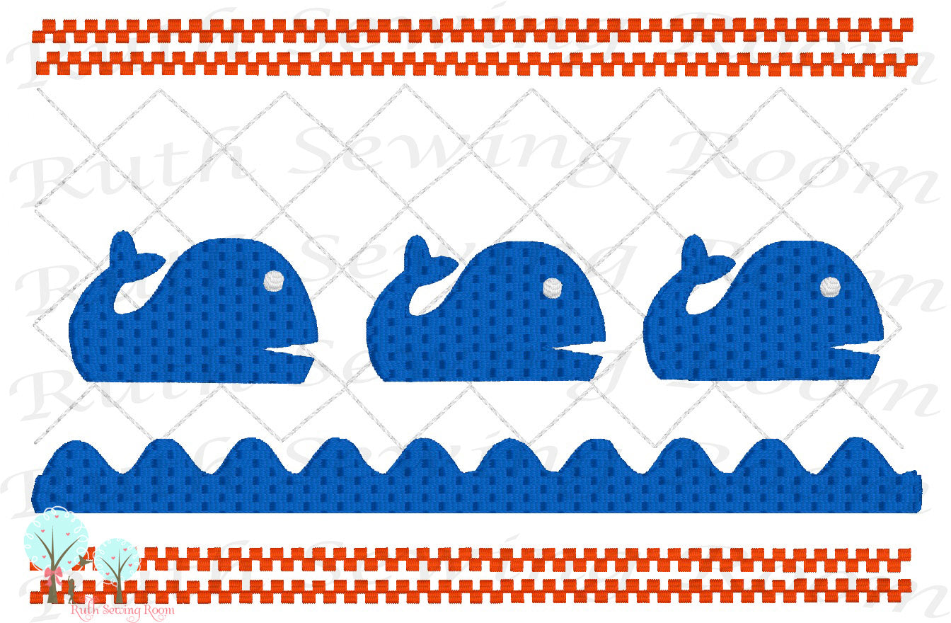 Whale Smocking Stitch  Embroidery Design