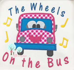 Wheels on the Bus Applique   -  Wheels on the Bus Song  -  Applique Embroidery Design Instant download Machine Embroidery - This is NOT a PATCH!