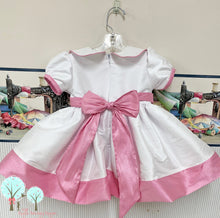Party Wear, OOC, White With Paris Pink  - Silk DUPIONI, Ruth Sewing Room