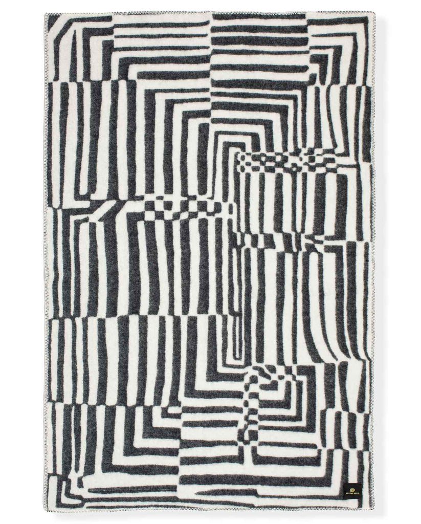 """Obscure Chess"" Pure Wool Blanket by Jonathan Ryan Storm. Black/White"