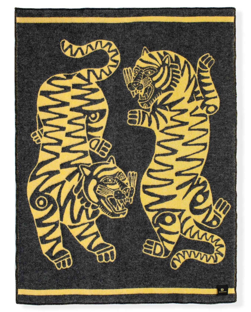 """Tiger Loop"" Pure Wool Blanket by Asis Percales"