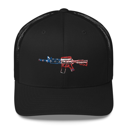 Red White and Blue AR15 Baassery Trucker Cap