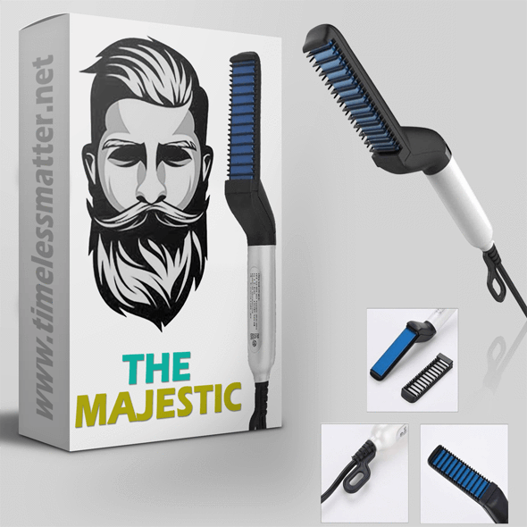 The Majestic™ Premium Beard Straightening Comb Beard Straightener Timeless Matter US Plug