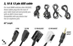 "60"" Aux Cables for Installing Audio-In Feature on Rear of Radio Unit"