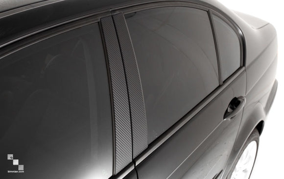 Carbon Vinyl Pillar Trim Overlays for BMW F30 3 Series