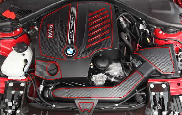 Carbon Fiber Vinyl Engine Bay Overlay Kits for BMW F3X 335i