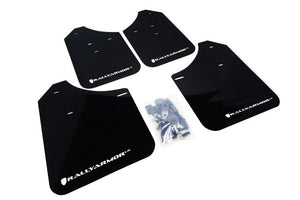Rally Armor Front & Rear Mud Flaps – Black/White Logo – 15-19 Subaru WRX STI & WRX Sedan