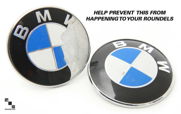 BMW Roundel Emblem Protection | 7 Piece Kit for BMW E90 3 Series Sedan | Front, Rear, Steering Wheel & 4 Wheels