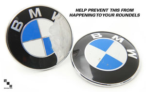 BMW Roundel Emblem Protection | 7 Piece Kit for BMW E36 3 Series Touring Wagon | Front, Rear, Steering Wheel & 4 Wheels