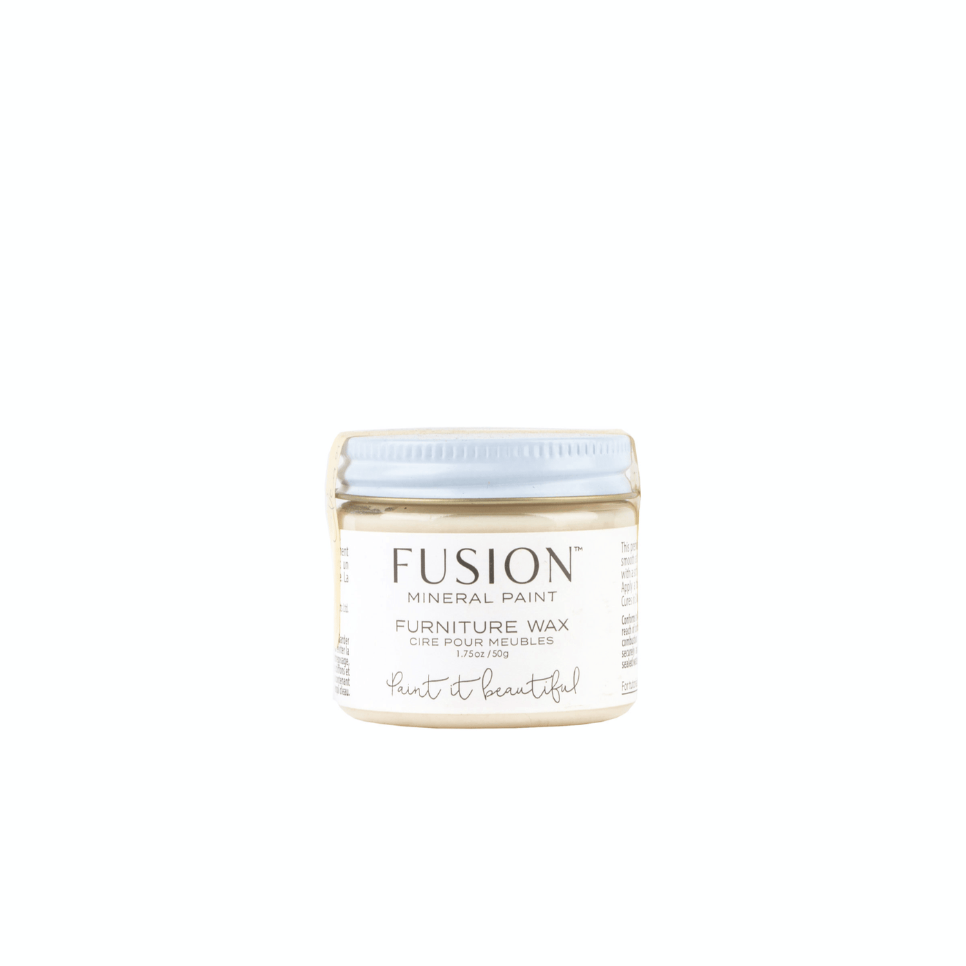 Furniture wax from Fusion Mineral Paint clear, easy-to-use, no smell wax that is museum-grade for extra luster and protection on painted furniture or bare wood. Available in 2 sizes online and in Southern California shop