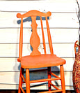 Kitchen chair painted in Pumpkin from The Real Milk Paint Co's. Available in 1 ounce sample, 16 ounce and 32 ounce