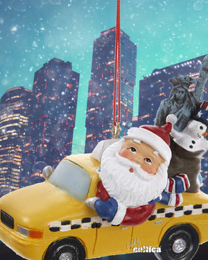New York Christmas Ornament Santa Taxi - griswoldshop