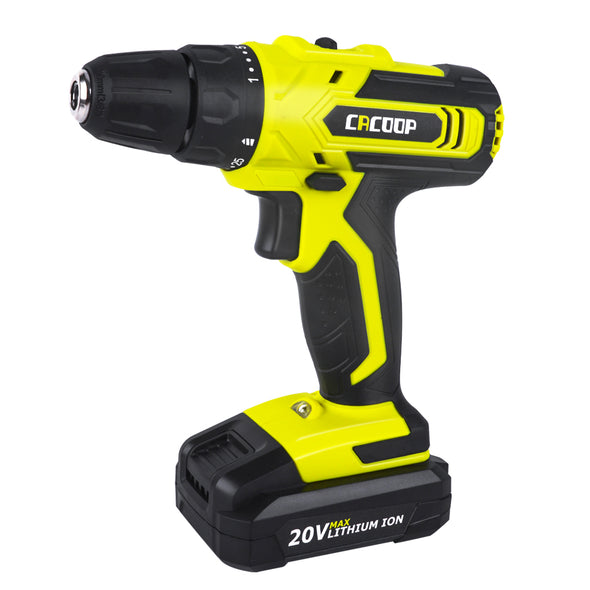 50% OFF CACOOP 20V Cordless Drill Driver Kit w/ 2000mAh Battery, 2 Variable Speed& Bits Set for Drilling Walls, Floor, Metal