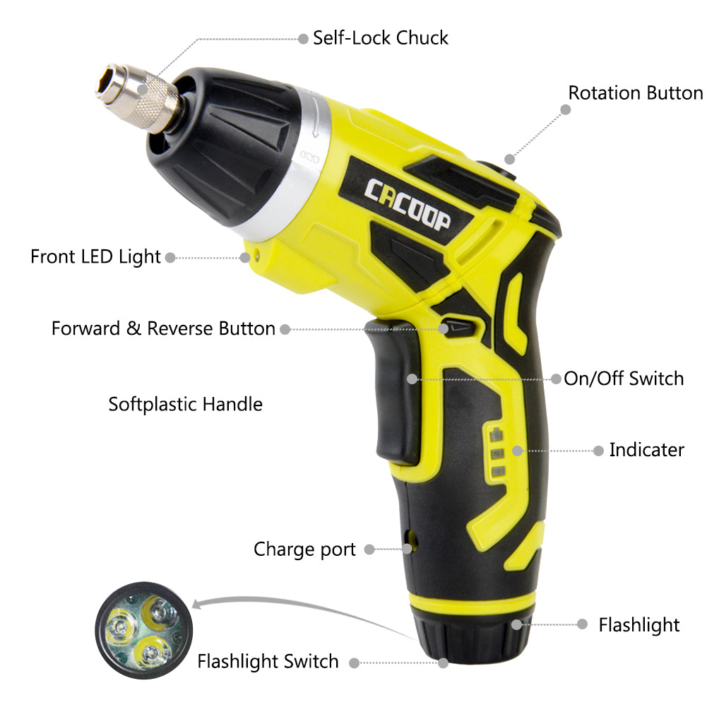 50% OFF CACOOP Cordless Electric Screwdriver Rechargeable, Screwdriver Bits Set
