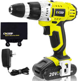 CACOOP Cordless Drill Driver 20V, 3/8 inch, with Lithium-Ion 1.5Ah Battery and charger