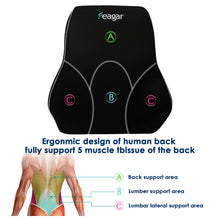 Feagar Lumbar Support Pillow/Back Cushion, Memory Foam Orthopedic Backrest for Car Seat, Office/Computer Chair and Wheelchair,Breathable & Ergonomic Design for Back Pain Relief